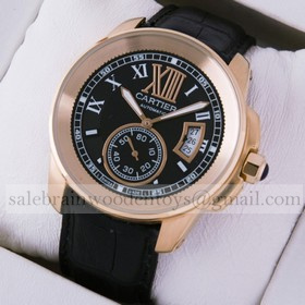 Replica Hot sale Fake Cartier Calibre de Cartier 18k Rose Gold Black Dial and Strap Mens Watches