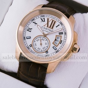 Replica Hot sale Fake Cartier Calibre de Cartier 18k Rose Gold Silver Dial Automatic Watches