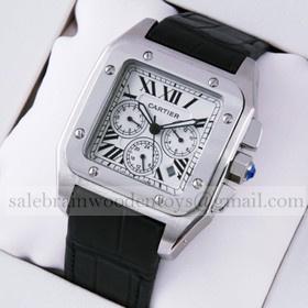 Replica Hot sale Fake Cartier Santos 100 Chronograph Stainless Steel Black alligator Strap Mens Watch