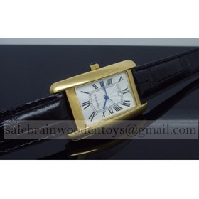 Replica Hot sale Fake Cartier Tank Americaine 18K Yellow Gold Black Leather Band Mens Watches