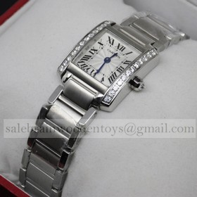 Replica Hot sale Fake Cartier Tank Francaise 18K White Gold Diamonds Ladies Watches