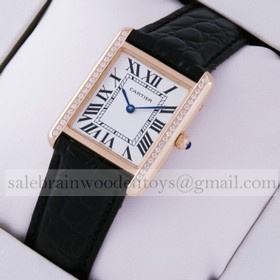 Hot sale Fake Cartier Tank Solo 18kt Rose Gold Diamonds Black Leather Strap Ladies Watches