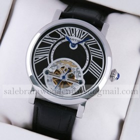 Replica Hot sale Fake Rotonde de Cartier Stainless Steel Black Dial & Leather Strap Tourbillon Mens Watches