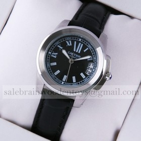 Replica Imitation Calibre de Cartier Stainless Steel Black Dial Black Leather Ladies Watches