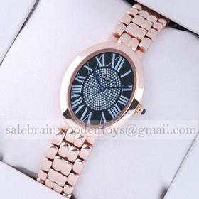 Replica Imitation Cartier Baignoire 18K Rose Gold Black Diamonds Dial Unisex Watches
