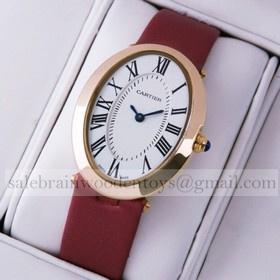 Replica Imitation Cartier Baignoire Rose Gold Crimson Satin Strap Unisex Watches