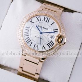 Replica Imitation Cartier Ballon Bleu de Cartier Diamonds 18K Rose Gold Mens Watches
