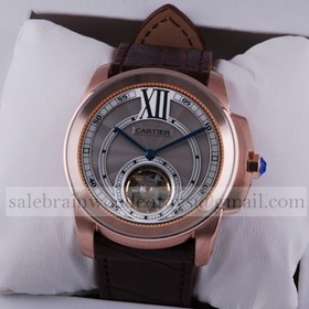 Replica Imitation Cartier Calibre de Cartier Flying Tourbillon 18k Rose Gold Mens Watch