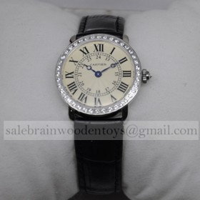 Replica Imitation Cartier Ronde Louis Diamond SS Black Leather Strap Small Ladies Watches