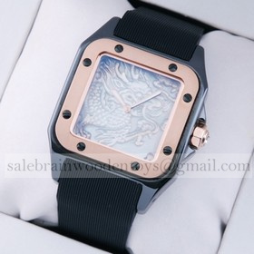 Replica Imitation Cartier Santos 100 Tow-Tone Rose Gold Black Rubber Band Limited Edition Mens Watches