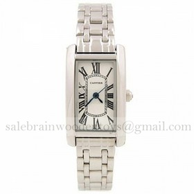 Replica Imitation Cartier Tank Americaine 18K White Gold Ladies Watches