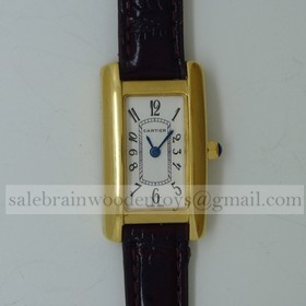 Imitation Cartier Tank Americaine 18K Yellow Gold Black Leather Band Ladies Watches