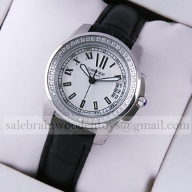Replica Knock off Calibre de Cartier Diamonds White Dial Black Leather Strap Ladies Watches