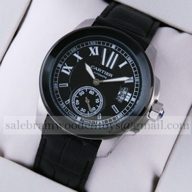 Replica Knock off Calibre de Cartier Stainless Steel Black Dial Leaather Strap Mens Watches