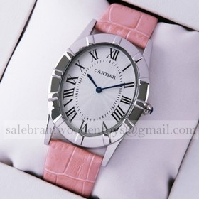 Replica Knock off Cartier Baignoire Stainless Steel Pink Leather Strap Large Unisex Watch