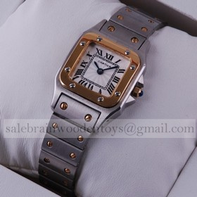 Replica Knock off Cartier Santos Two-Tone Yellow Gold and Stainless Steel Small Ladies Watches