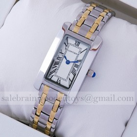 Replica Knock off Cartier Tank Americaine Two-Tone 18K Yellow Gold and Stainless Steel Ladies Watches