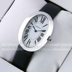 Replica Knockoff Cartier Baignoire Midsize Stainless Steel Satin Strap Quartz Unisex Watch
