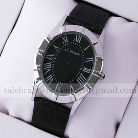 Replica Knockoff Cartier Baignoire Stainless Steel Black Leather Strap Large Unisex Watches