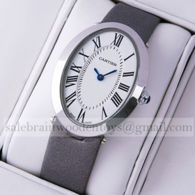 Replica Knockoff Cartier Baignoire Stainless Steel Grey Satin Strap Unisex Watch