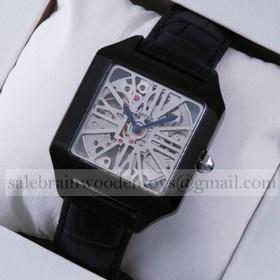 Replica Knockoff Cartier Santos Dumont Skeleton Black PVD Black Leather Strap Mens Watches
