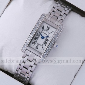 Replica Knockoff Cartier Tank Americaine Stainless Steel Diamonds Bezel Ladies Watches
