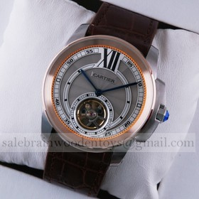 Replica Replica Calibre de Cartier Flying Tourbillon Two-Tone Rose Gold Silver Dial Brown Leather Mens Watches