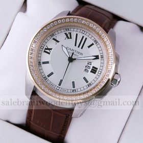 Replica Replica Calibre de Cartier Two-Tone Rose Gold Diamonds Silver Dial Brown Leather Mens Watches