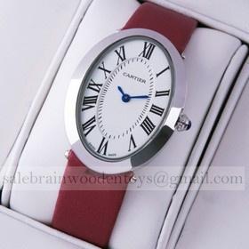 Replica Replica Cartier Baignoire Stainless Steel Crimson Satin Strap Unisex Watches