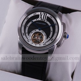 Replica Replica Cartier Calibre de Cartier Flying Tourbillon Black Dial Black Leather Strap Steel Mens Watches