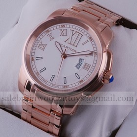 Replica Replica Cartier Calibre de Cartier White Dial 18k Rose Gold Mens Watches