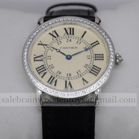 Replica Replica Cartier Ronde Louis Diamond SS Black Leather Strap Large Ladies Watches