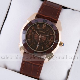 Replica Replica Cartier Rose Gold Brown Dial Brown Leather Strap Mens Watches
