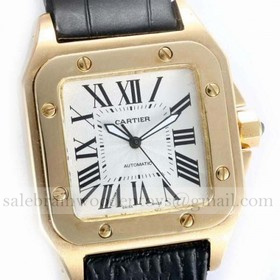 Replica Replica Cartier Santos 100 Automatic 18K Rose Gold Leather Strap Mens Watches