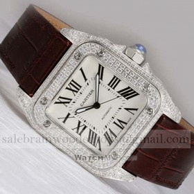 Replica Replica Cartier Santos 100 Full Diamonds Stainless Steel Leather Strap Mens Watches
