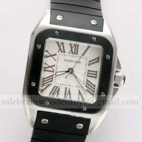 Replica Replica Cartier Santos 100 Stainless Steel Black Rubber Band Ladies Watches