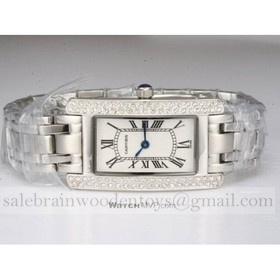 Replica Replica Cartier Tank Americaine 18K White Gold Diamonds Ladies Watches