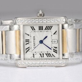 Replica Replica Cartier Tank Francaise Diamond Two-Tone 18K Yellow Gold and SS Mens Watches