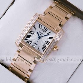 Replica Replica Cartier Tank Francaise Diamonds 18K Rose Gold Mens Watches