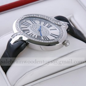 Replica Replica Delices de Cartier Stainless Steel Diamonds Black Fabric Strap Ladies Watches Knockoff