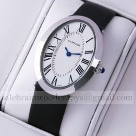 Replica Replica Online Sale Cartier Baignoire Stainless Steel Black Satin Strap Unisex Watch