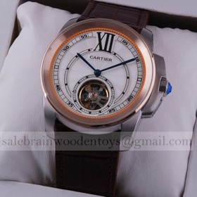 Replica Replica Online Sale Cartier Calibre de Cartier Flying Tourbillon Two-Tone Rose Gold Brown Leather Strap Mens Watches