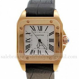 Replica Replica Online Sale Cartier Santos 100 18K Yellow Gold Leather Strap Mens Watches