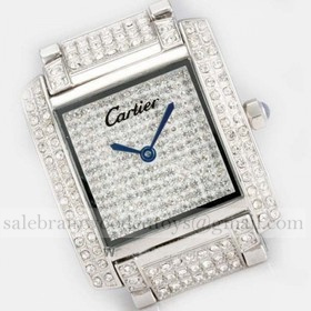 Replica Replica Online Sale Cartier Tank Francaise Full Diamonds 18K White Gold Ladies Watches