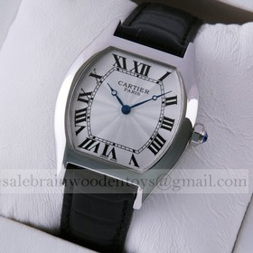 Replica Replica Online Sale Cartier Tortue Black Leather Strap Stainless Steel Mens Watches