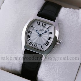 Replica Replica Online Sale Cartier Tortue Black Leather Strap Stainless Steel Small Ladies Watches