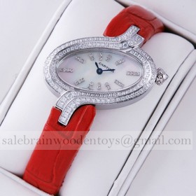 Replica Replica Online Sale Delices De Cartier Diamonds Stainless Steel MOP Dial Leather Strap Ladies Watches