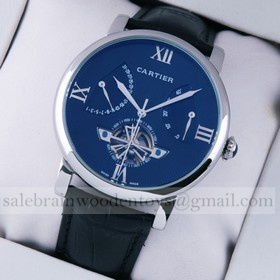 Replica Replica Online Sale Rotonde de Cartier Stainless Steel Blue Dial Black Leather Tourbillon Mens Watches