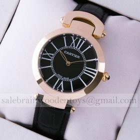 Replica Replica Ronde Solo De Cartier Black Leather 18K Rose Gold Ladies Watches