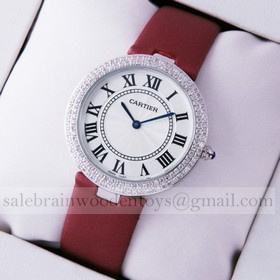 Replica Replica Ronde Solo De Cartier Diamond Stainless Steel Burgundy Stain Strap Ladies Watches